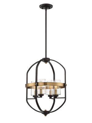 673560 - Four Light Foyer Pendant - English Bronze & Warm Brass