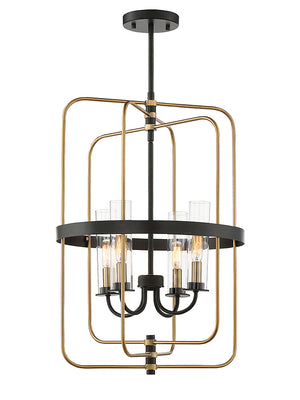 673563 - Four Light Foyer Pendant - Vintage Black w/ Warm Brass