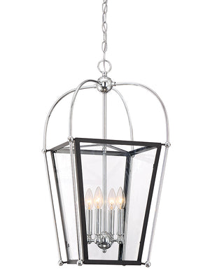 673566 - Four Light Foyer Pendant - Matte Black w/ Polished Chrome Accents