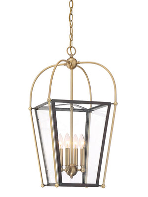 673567 - Four Light Foyer Pendant - English Bronze & Warm Brass