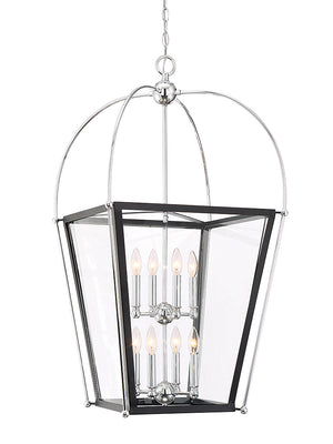 673565 - Eight Light Foyer Pendant - Matte Black w/ Polished Chrome Accents