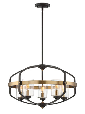 679032 - Five Light Pendant - English Bronze & Warm Brass