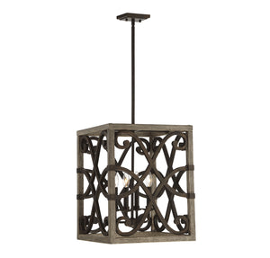 723222 - Four Light Foyer Pendant - Noblewood w/ Iron