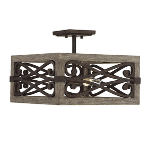 723292 - Four Light Semi Flush Mount - Noblewood w/ Iron