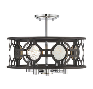 723299 - Four Light Semi Flush Mount - Bronze and Chrome w/ Antique Mirror Accents