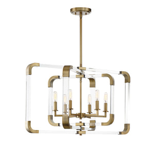 723298 - Six Light Pendant - Warm Brass