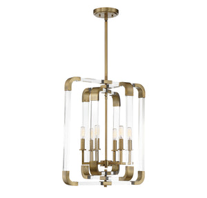 723297 - Six Light Pendant - Warm Brass