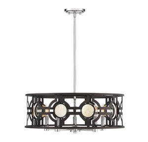 723263 - Five Light Pendant - Bronze and Chrome w/ Antique Mirror Accents