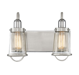 723277 - Two Light Bath Bar - Satin Nickel w/ Polished Nickel Accents