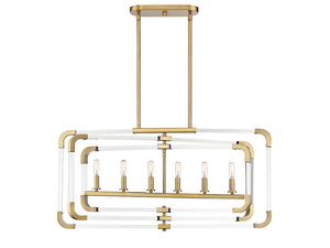 761228 - Six Light Linear Chandelier - Warm Brass