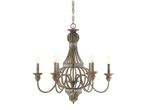 761230 - Six Light Chandelier - Aged Wood