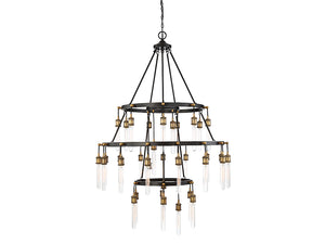 761238 - 35 Light Chandelier - Vintage Black w/ Warm Brass
