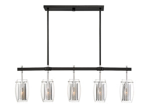 761260 - Five Light Linear Chandelier - Matte Black w/ Polished Chrome Accents