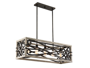 761264 - Five Light Linear Chandelier - Noblewood w/ Iron
