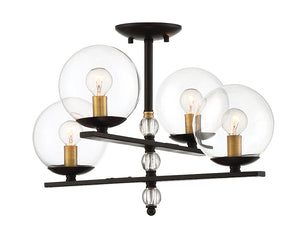 761322 - Four Light Semi Flush Mount - English Bronze & Warm Brass