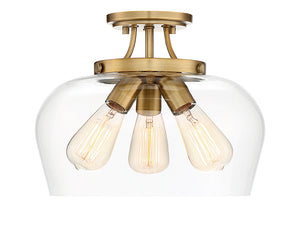 761325 - Three Light Semi-Flush Mount - Warm Brass