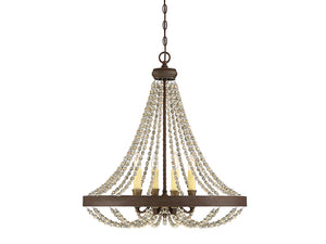 761366 - Four Light Chandelier - Fossil Stone