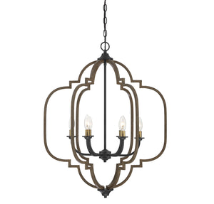 542251 - Six Light Chandelier - Barrelwood w/ Brass Accents