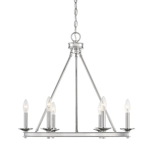542341 - Six Light Chandelier - Polished Nickel