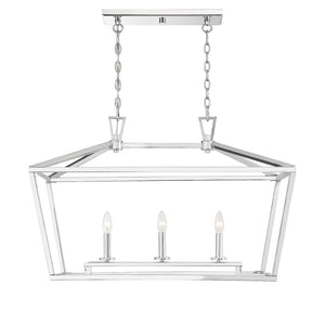 542331 - Three Light Linear Chandelier - Polished Nickel