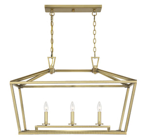 542338 - Three Light Linear Chandelier - Warm Brass