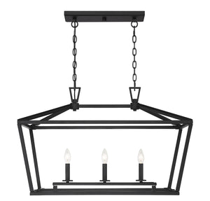 542337 - Three Light Linear Chandelier - Matte Black