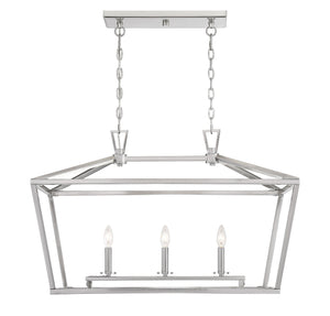542335 - Three Light Linear Chandelier - Satin Nickel
