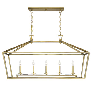 542394 - Five Light Linear Chandelier - Warm Brass
