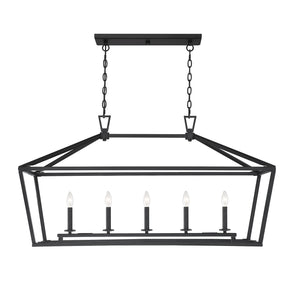 542393 - Five Light Linear Chandelier - Matte Black