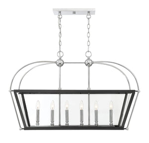 542398 - Six Light Linear Chandelier - Matte Black w/ Polished Chrome Accents