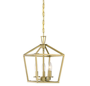 542313 - Three Light Foyer Pendant - Warm Brass