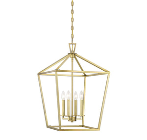 542317 - Four Light Foyer Pendant - Warm Brass