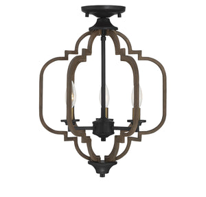 542376 - Three Light Semi-Flush Mount - Barrelwood w/ Brass Accents