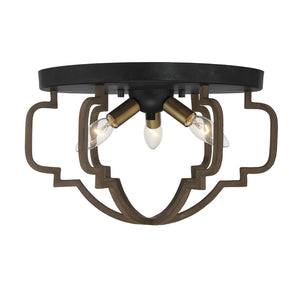 542377 - Three Light Semi-Flush Mount - Barrelwood w/ Brass Accents
