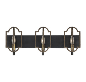 542927 - Three Light Bath Bar - Barrelwood w/ Brass Accents