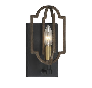 542999 - One Light Wall Sconce - Barrelwood w/ Brass Accents