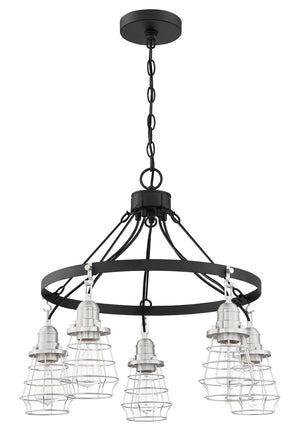 593650 - Five Light Chandelier - Flat Black/Brushed Polished Nickel