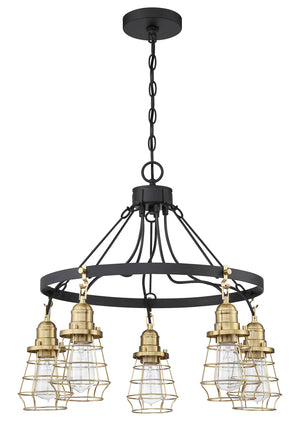 593654 - Five Light Chandelier - Flat Black/Satin Brass