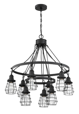 593652 - Nine Light Chandelier - Flat Black