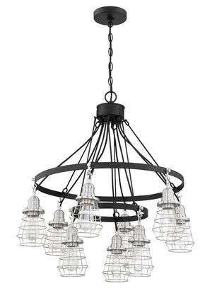 593653 - Nine Light Chandelier - Flat Black/Brushed Polished Nickel