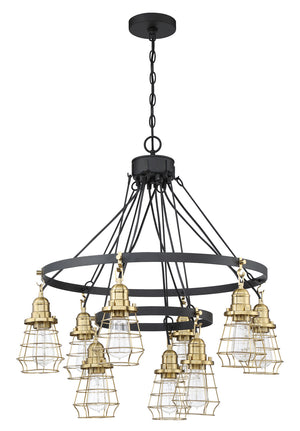 593659 - Nine Light Chandelier - Flat Black/Satin Brass