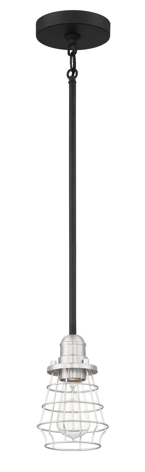 593658 - One Light Mini Pendant - Flat Black/Brushed Polished Nickel