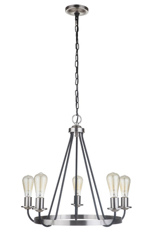 593527 - Five Light Chandelier - Flat Black/Brushed Polished Nickel