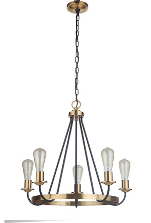 593525 - Five Light Chandelier - Flat Black/Satin Brass