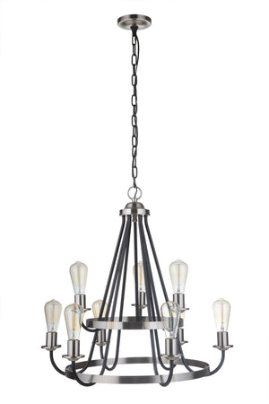 593530 - Nine Light Chandelier - Flat Black/Brushed Polished Nickel