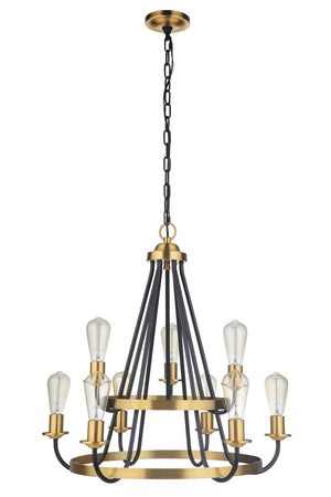 593534 - Nine Light Chandelier - Flat Black/Satin Brass