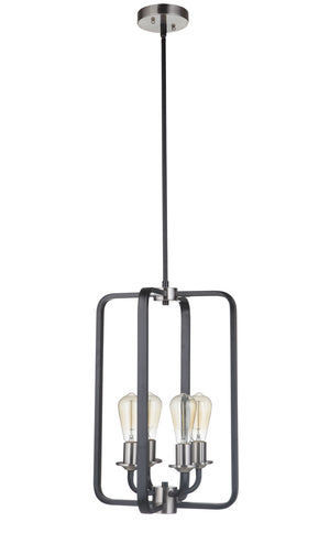 593532 - Four Light Foyer Pendant - Flat Black/Brushed Polished Nickel