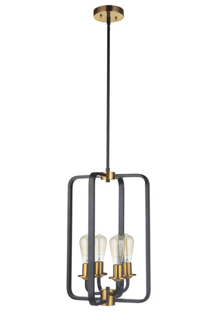 593533 - Four Light Foyer Pendant - Flat Black/Satin Brass