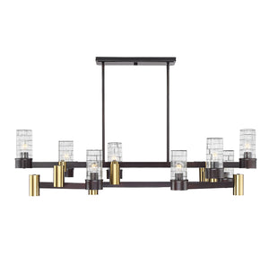 597144 - 28 Light Linear Chandelier - English Bronze and Warm Brass