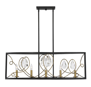 597142 - Five Light Linear Chandelier - Como Black w/ Gold